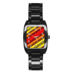 Abstract Bright Stripes Stainless Steel Barrel Watch by BangZart
