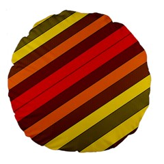 Abstract Bright Stripes Large 18  Premium Flano Round Cushions by BangZart