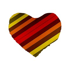 Abstract Bright Stripes Standard 16  Premium Flano Heart Shape Cushions by BangZart