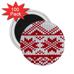 Crimson Knitting Pattern Background Vector 2 25  Magnets (100 Pack)