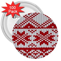 Crimson Knitting Pattern Background Vector 3  Buttons (100 Pack)