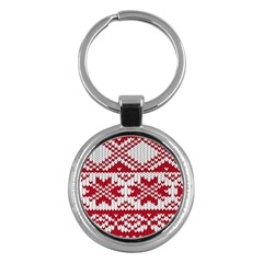 Crimson Knitting Pattern Background Vector Key Chains (round)  by BangZart