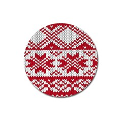 Crimson Knitting Pattern Background Vector Magnet 3  (round)