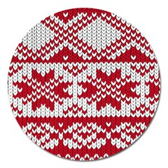 Crimson Knitting Pattern Background Vector Magnet 5  (round) by BangZart