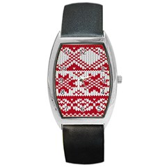 Crimson Knitting Pattern Background Vector Barrel Style Metal Watch
