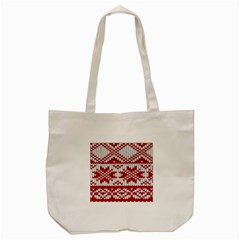 Crimson Knitting Pattern Background Vector Tote Bag (cream) by BangZart