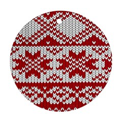 Crimson Knitting Pattern Background Vector Round Ornament (two Sides)