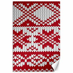 Crimson Knitting Pattern Background Vector Canvas 24  X 36  by BangZart