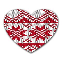 Crimson Knitting Pattern Background Vector Heart Mousepads