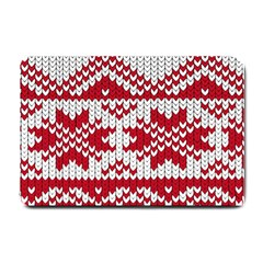 Crimson Knitting Pattern Background Vector Small Doormat  by BangZart