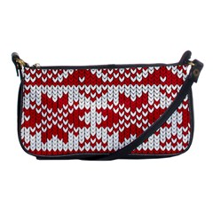 Crimson Knitting Pattern Background Vector Shoulder Clutch Bags by BangZart