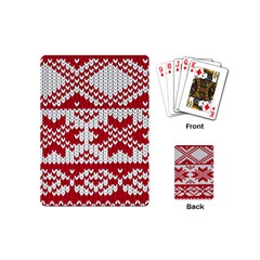 Crimson Knitting Pattern Background Vector Playing Cards (mini)