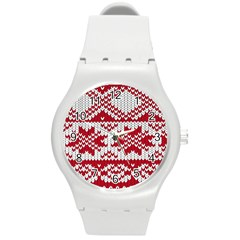 Crimson Knitting Pattern Background Vector Round Plastic Sport Watch (m) by BangZart