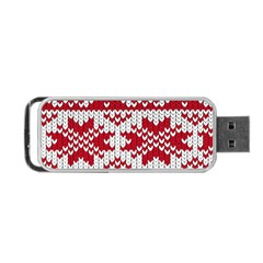 Crimson Knitting Pattern Background Vector Portable Usb Flash (two Sides)
