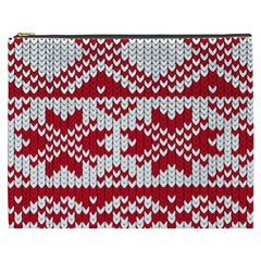 Crimson Knitting Pattern Background Vector Cosmetic Bag (xxxl)