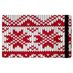 Crimson Knitting Pattern Background Vector Apple Ipad 3/4 Flip Case by BangZart