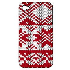 Crimson Knitting Pattern Background Vector Apple Iphone 4/4s Hardshell Case (pc+silicone) by BangZart