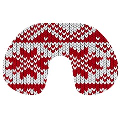 Crimson Knitting Pattern Background Vector Travel Neck Pillows