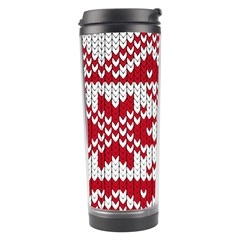 Crimson Knitting Pattern Background Vector Travel Tumbler by BangZart