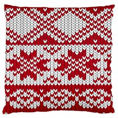 Crimson Knitting Pattern Background Vector Large Flano Cushion Case (two Sides)