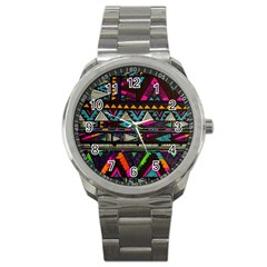 Cute Hipster Elephant Backgrounds Sport Metal Watch by BangZart