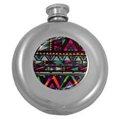 Cute Hipster Elephant Backgrounds Round Hip Flask (5 Oz)