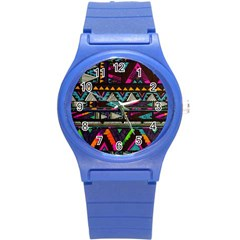 Cute Hipster Elephant Backgrounds Round Plastic Sport Watch (s)