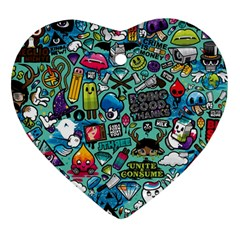 Comics Heart Ornament (two Sides)