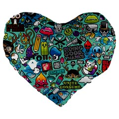 Comics Large 19  Premium Heart Shape Cushions by BangZart
