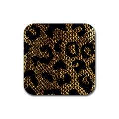 Metallic Snake Skin Pattern Rubber Square Coaster (4 Pack)  by BangZart