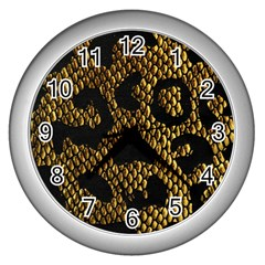 Metallic Snake Skin Pattern Wall Clocks (silver)  by BangZart