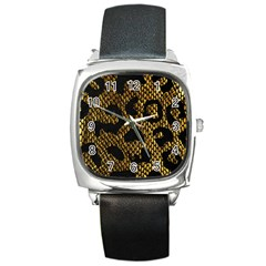 Metallic Snake Skin Pattern Square Metal Watch