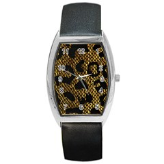 Metallic Snake Skin Pattern Barrel Style Metal Watch