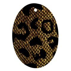 Metallic Snake Skin Pattern Oval Ornament (two Sides)