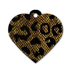 Metallic Snake Skin Pattern Dog Tag Heart (two Sides)