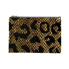 Metallic Snake Skin Pattern Cosmetic Bag (large)