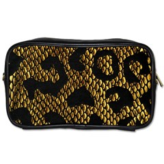 Metallic Snake Skin Pattern Toiletries Bags 2 Side