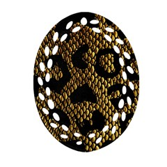 Metallic Snake Skin Pattern Oval Filigree Ornament (two Sides) by BangZart