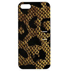 Metallic Snake Skin Pattern Apple Iphone 5 Hardshell Case With Stand