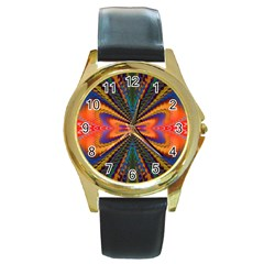 Casanova Abstract Art Colors Cool Druffix Flower Freaky Trippy Round Gold Metal Watch by BangZart