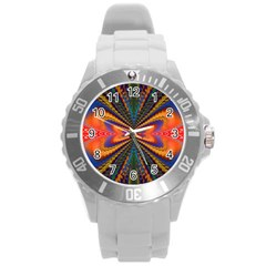 Casanova Abstract Art Colors Cool Druffix Flower Freaky Trippy Round Plastic Sport Watch (l) by BangZart