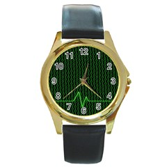 01 Numbers Round Gold Metal Watch