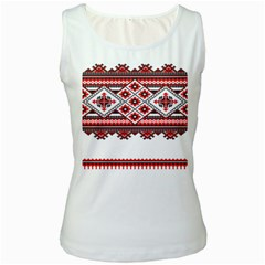Consecutive Knitting Patterns Vector Women s White Tank Top