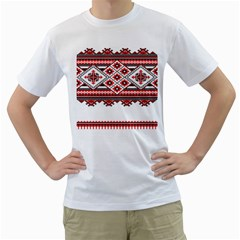 Consecutive Knitting Patterns Vector Men s T Shirt (white) (two Sided)