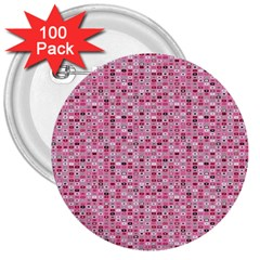 Abstract Pink Squares 3  Buttons (100 Pack)