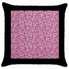 Abstract Pink Squares Throw Pillow Case (black)