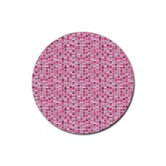 Abstract Pink Squares Rubber Coaster (round)  by BangZart
