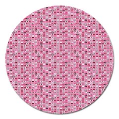 Abstract Pink Squares Magnet 5  (round) by BangZart