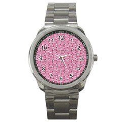 Abstract Pink Squares Sport Metal Watch