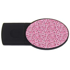 Abstract Pink Squares Usb Flash Drive Oval (4 Gb) by BangZart